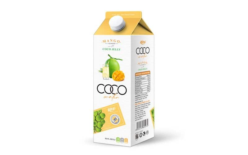Coconut jelly water with mango flavour from aseptic fruit juice