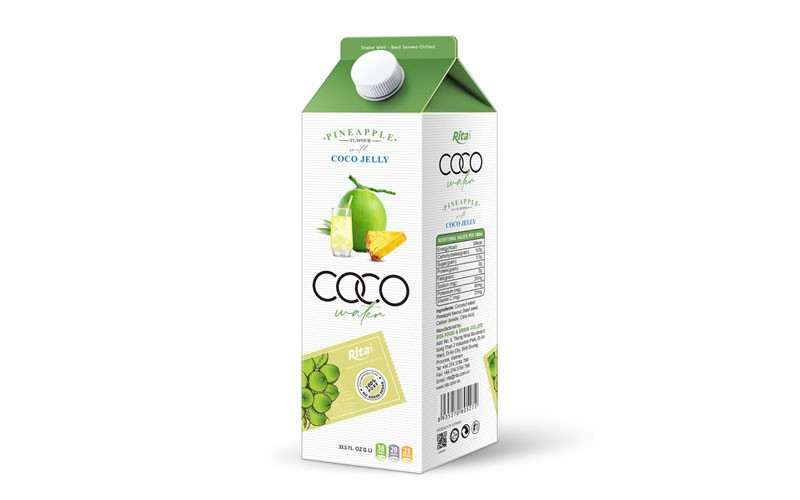 Coconut jelly water with pineapple flavour from aseptic fruit juice
